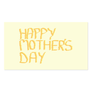 Happy Mothers Day. Yellow. Business Card Templates
