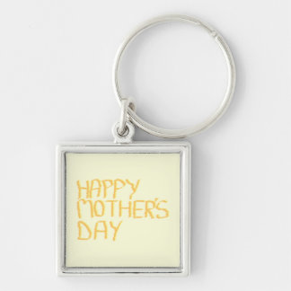 Happy Mothers Day. Yellow. Silver-Colored Square Key Ring