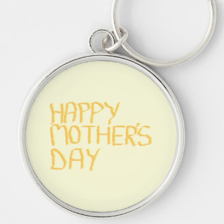 Happy Mothers Day. Yellow. Silver-Colored Round Key Ring