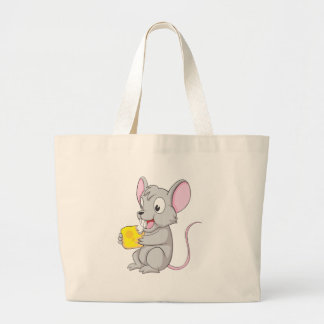 Happy Mouse Eating Cheese Canvas Bag