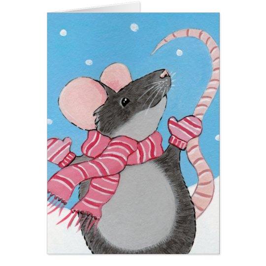 Happy Mouse in Snow Christmas Card