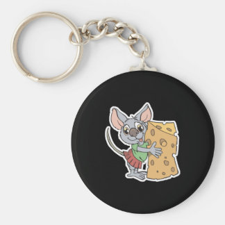 happy mouse with cheese basic round button key ring