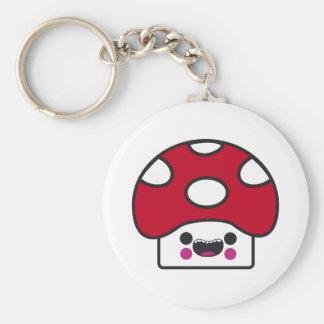 Happy Mushroom Basic Round Button Key Ring