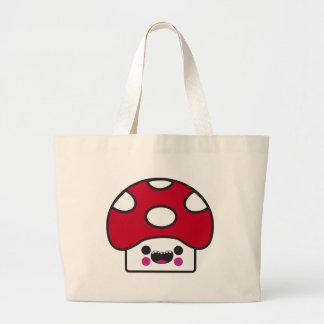 Happy Mushroom Large Tote Bag