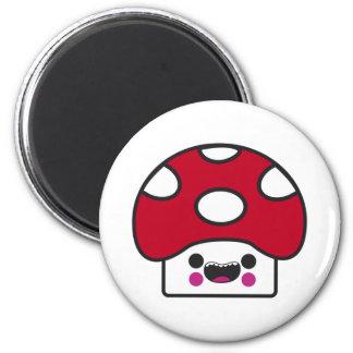 Happy Mushroom 6 Cm Round Magnet