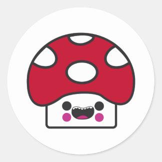 Happy Mushroom Round Sticker
