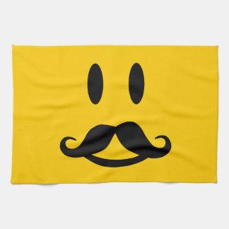 Happy Mustache Smiley custom kitchen towel