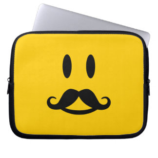 Happy Mustache Smiley custom laptop sleeve