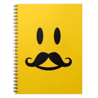 Happy Mustache Smiley custom notebook