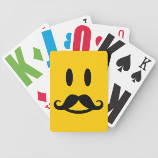Happy Mustache Smiley custom playing cards