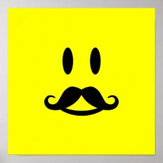 Happy Mustache Smiley custom poster