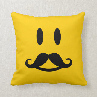 Happy Mustache Smiley custom throw pillow