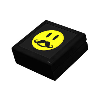 Happy Mustache Smiley gift / jewelry / trinket box
