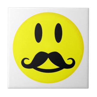 Happy Mustache Smiley tile