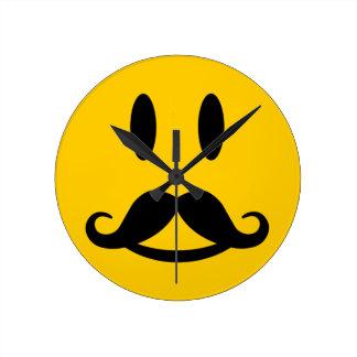 Happy Mustache Smiley wall clock