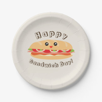 Happy National Sandwich Day Cute And Kawaii 7 Inch Paper Plate