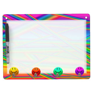 HAPPY NEON COLORS SMILEYS + STRIPE KEYHOLDER BOARD Dry-Erase WHITEBOARD