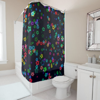 Happy Neon Star Shower Curtain