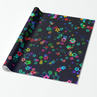 Happy Neon Star Wrapping Paper