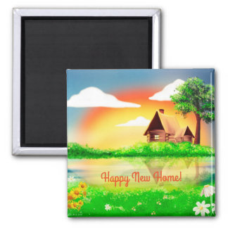 Happy New Home Cabin Scene Square Magnet