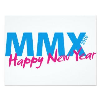 Happy New Year 2010 (MMX) 11 Cm X 14 Cm Invitation Card