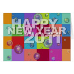 Happy New Year 2011 Card 3D Colour Pattern