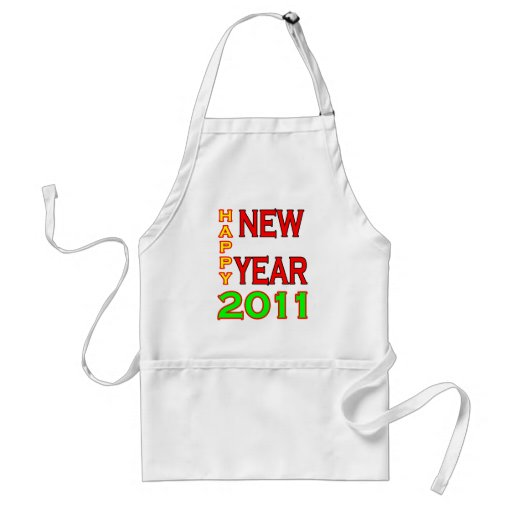 Happy New Year 2011 Green-Red Aprons