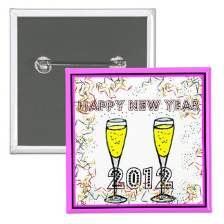 HAPPY NEW YEAR 2012 CHAMPAGNE TOAST PRINT 15 CM SQUARE BADGE