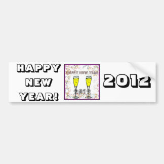 HAPPY NEW YEAR 2012 CHAMPAGNE TOAST PRINT CAR BUMPER STICKER