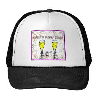 HAPPY NEW YEAR 2012 CHAMPAGNE TOAST PRINT TRUCKER HATS