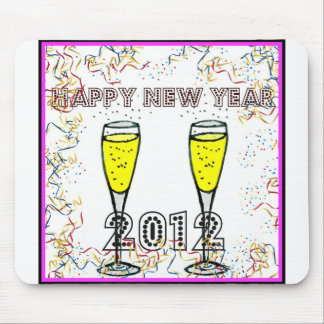 HAPPY NEW YEAR 2012 CHAMPAGNE TOAST PRINT MOUSE PAD