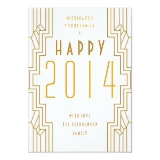 Happy New Year 2014 Art Deco Holiday Flat Card 13 Cm X 18 Cm Invitation Card