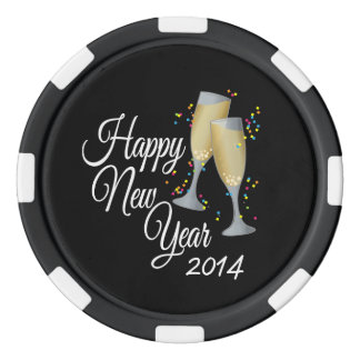 Happy New Year 2014 Champagne & Confetti Poker Chips