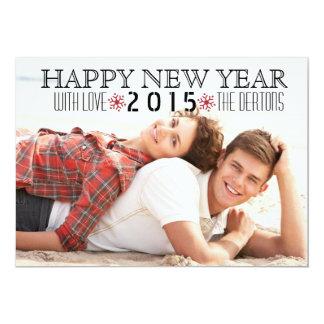 Happy New Year 2015 red snowflake photo 13 Cm X 18 Cm Invitation Card