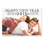 Happy New Year 2015 red snowflake photo Personalised Invite