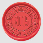 Happy New Year 2015 Red Wax Seal Stickers