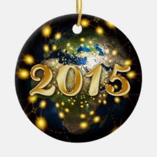 Happy New Year 2015 Round Ceramic Decoration
