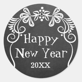 Happy New Year 2016 Chalkboard Classic Round Sticker