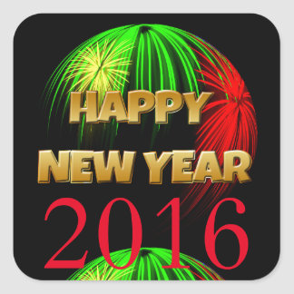 Happy New Year 2016 Fireworks Square Sticker