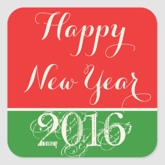 Happy New Year 2016 Red Green Sticker