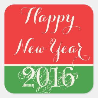 Happy New Year 2016 Red Green Sticker