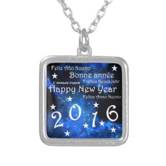 Happy new year 2016 square pendant necklace