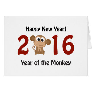 Happy New Year 2016 Year of the Monkey Card