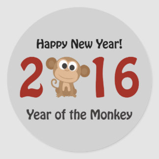 Happy New Year 2016 Year of the Monkey Classic Round Sticker