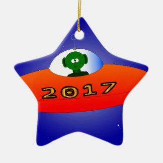 Happy New Year 2017 Alien Ceramic Star Decoration