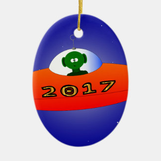 Happy New Year 2017 Alien Christmas Ornament