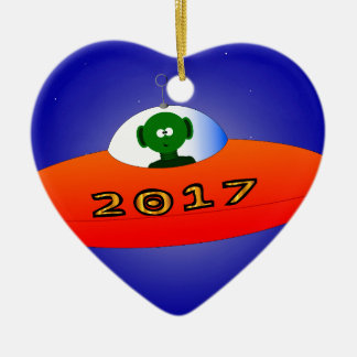 Happy New Year 2017 Alien Christmas Ornament