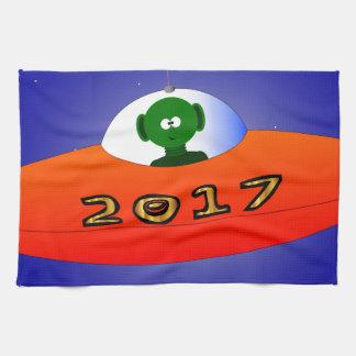 Happy New Year 2017 Alien Tea Towel