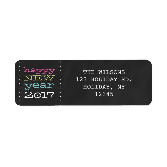 Happy New Year 2017 Whimsical Holiday Label Return Address Label