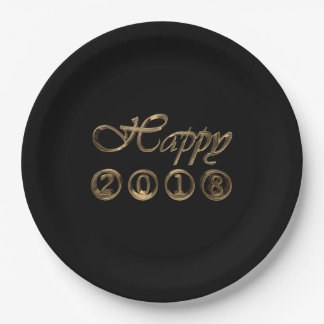 Happy New Year 2018 Elegant Black Gold Typography Paper Plate